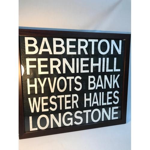 115B - Original 1980's Edinburgh bus destination scroll framed. Baberton, Ferniehill, Hyvots Bank, Wester H...