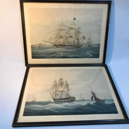 125B - Two 19th century Nautical coloured engravings,  Engraved by C. Rosenberg. Painted & published by W.J...