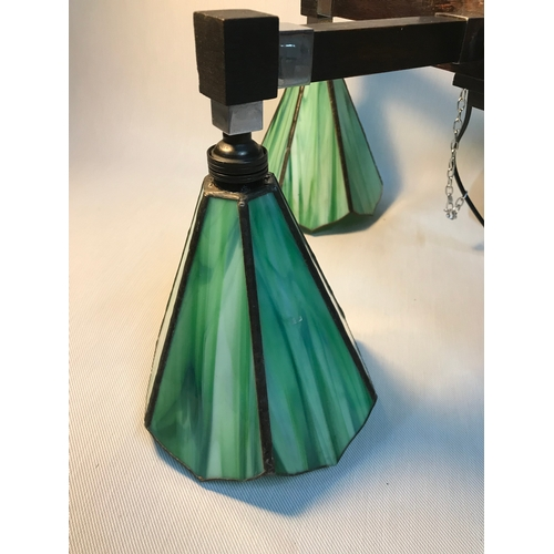 423 - An original Art Deco wood and chrome chandelier set with 4 possibly original Tiffany green stain gla...