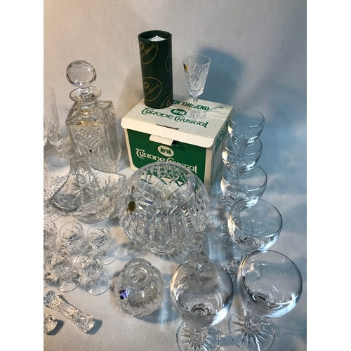 577 - A Collection of various crystal glasses, goblets, decanter, water jug, vases and bowls, Includes mak...
