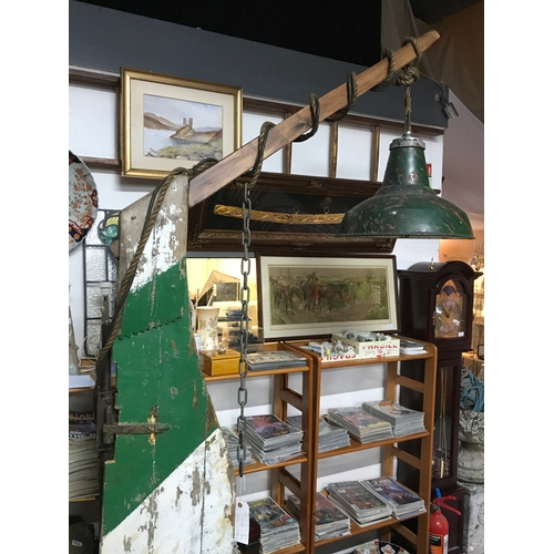 520A - A Large unusual industrial/ rustic floor standing lamp, Made from steel weighted base, Boat wooden r...