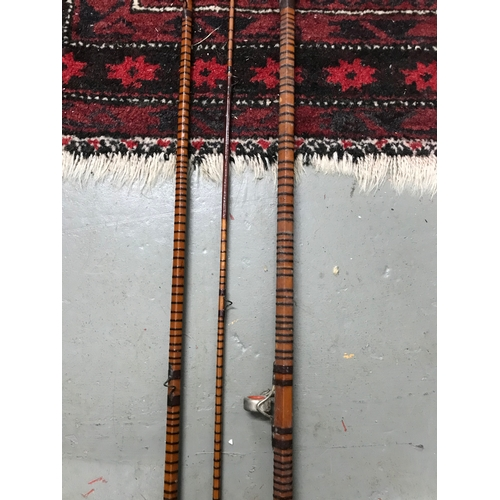 847 - Antique three piece split cane fly rod. 13 Foot....