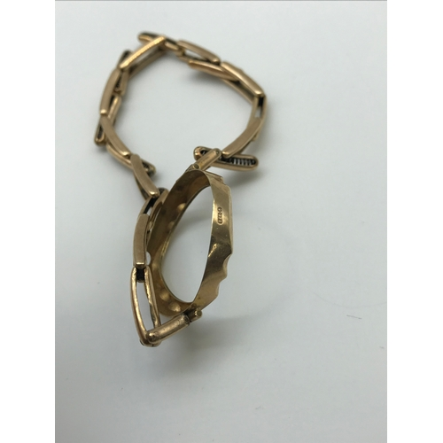 5 - A 9ct gold casing for a watch and a 9ct gold metal core bracelet....