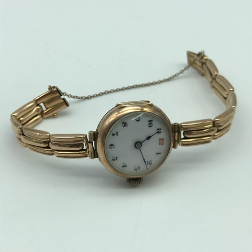6 - Antique 9ct gold wrist watch, 9ct gold casing and bracelet. In a working condition. Total weight 21....