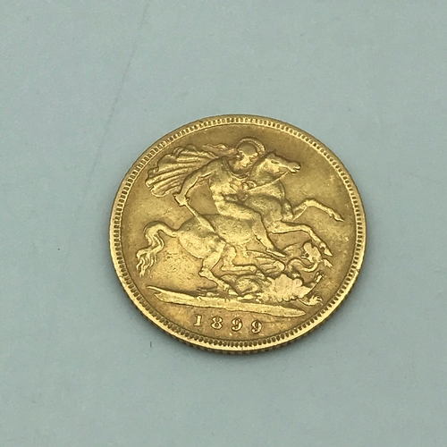 10 - 1899 gold half sovereign showing old Queen Victoria head....