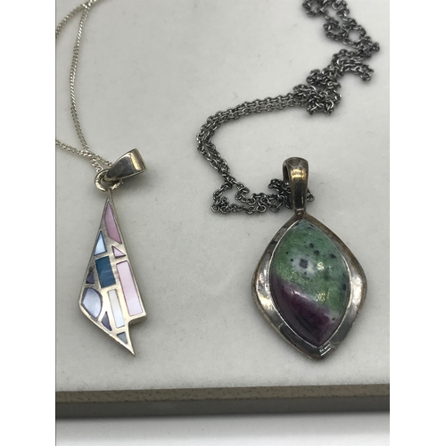 19 - Silver and Ruby Zoisite pendant with silver chain, Silver and enamel pendant with silver chain and c...