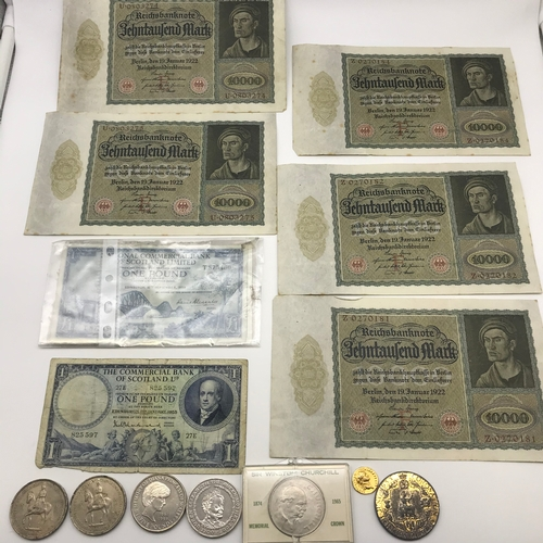 20 - A Lot of vintage bank notes and coins, Includes 5 1922 Reichsbanknote, National commercial bank of S...