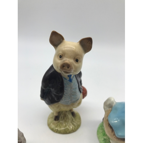 22 - A Lot of three Beswick Beatrix Potter porcelain figurines. Includes Gold stamp Peter Rabbit, Gold st...