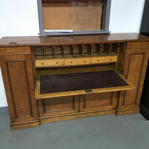 482D - Antique Howard & Sons Berners St. boardroom writing bureau, Consists of 4 doors with fitted shelving...