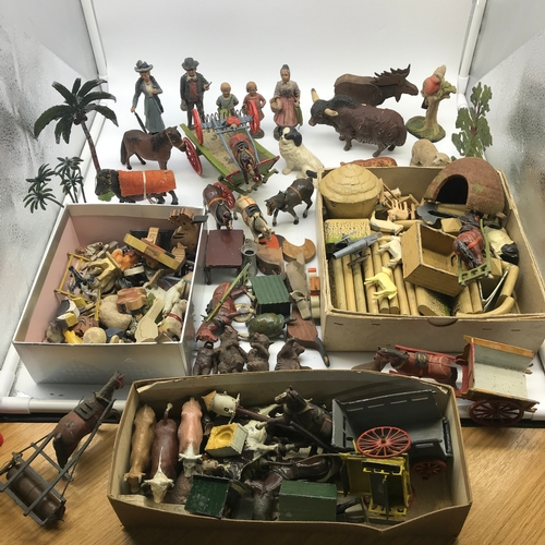 123A - A Large collection of Vintage and antique lead, wood, porcelain animals and figures. Includes Britai...