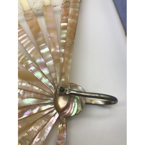 124A - Antique ladies mother of pearl and lace hand held fan with original box. A/F...