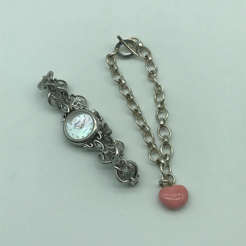 2J - A Genuine Links of London Women's Enamel heart charm bracelet. Together with a Sterling 925 Gems Qua...