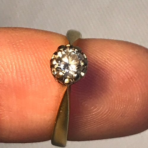 3J - A Ladies 18ct gold single round diamond ring, Very bright diamond. .33ct. Ring size L. Weighs 3.43gr...