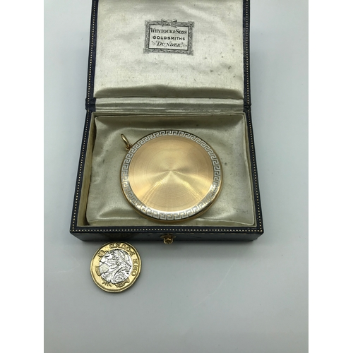 22J - A Beautiful Art Deco 15ct gold and white enamel large locket, engraved E.M.P 9th May 1925. Includes ...