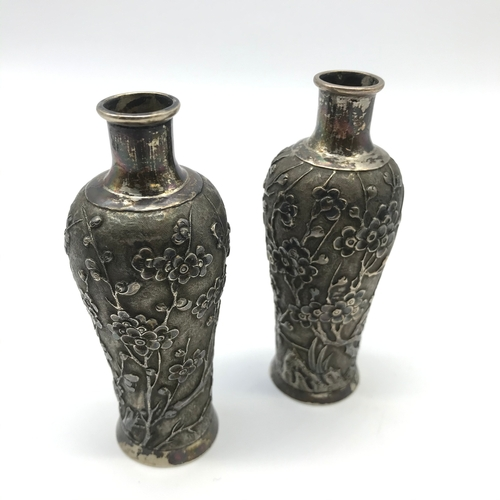 39J - A Pair of Antique Chinese Silver vases, detailed with cherry blossom trees, Stamped to the base make...