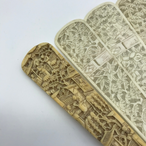 40J - A Fine example of a early 19th century Chinese carved ivory & bone fan, Highly detailed figures and ...