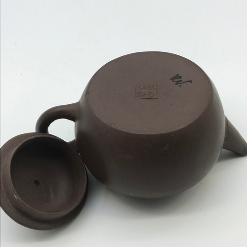 46J - Antique Chinese Yixing pottery mark clay tea pot with lid. Measures 7cm in height...