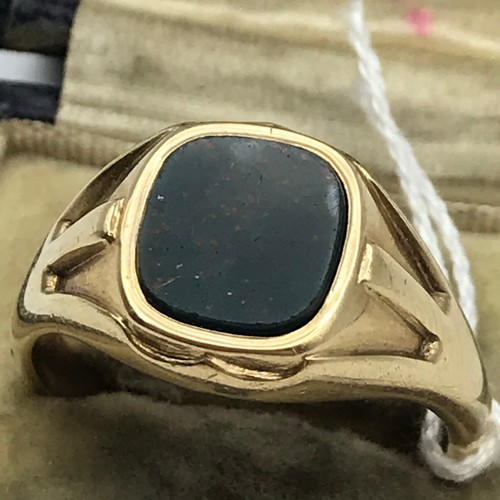 4J - Antique Birmingham Gents 9ct gold signet ring set with a blood stone. Ring size V. Weighs 7.2grams. ...