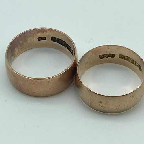 11J - A Lot of two Antique Birmingham 9ct gold wedding bands, Ring size L & M [Total weight 6.5grams]...