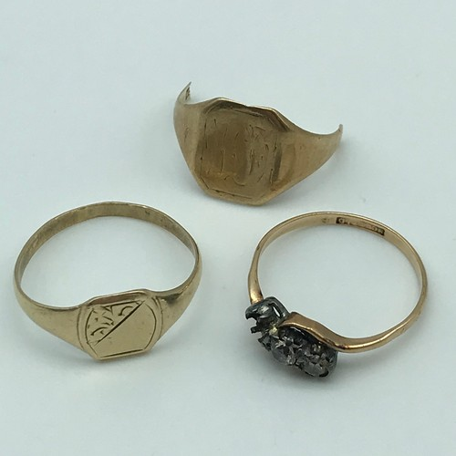 12J - A Lot of 9ct gold, to include; gents signet ring [size Q] Ladies ring (missing stone] and scrap gold...