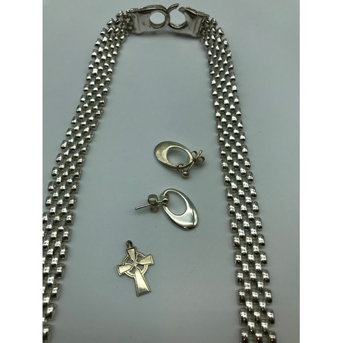 15J - A Heavy Italian silver ladies necklace [42.4 grams], together with a pair of Ortak silversmith earri...