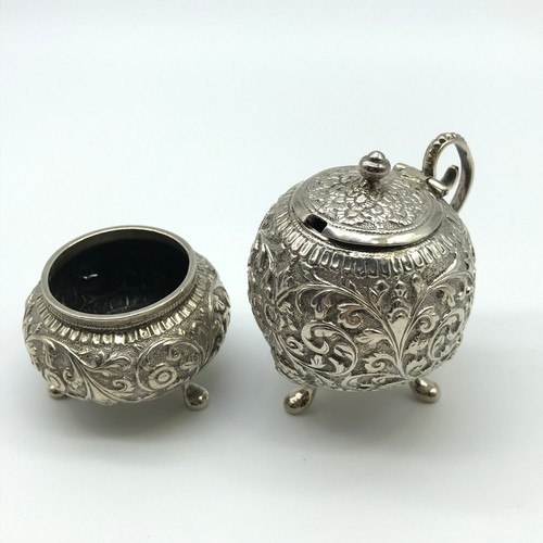 17J - A Lot of two Silver Indian C1900 Kutch Anglo condiment pots [101.9 grams]...
