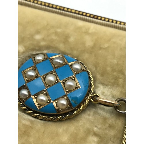 14 - A Victorian 15ct gold, turquoise stone and seed pearl mourning brooch [not marked]- Exquisitely desi...