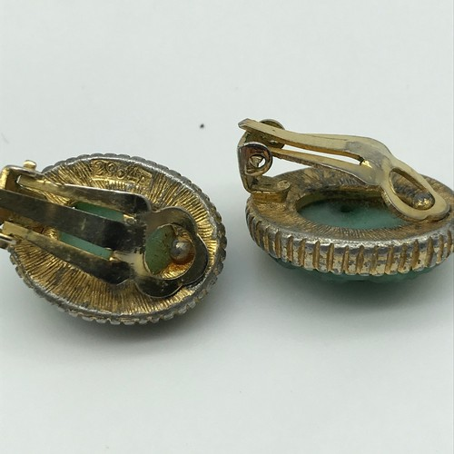 13 - A Pair of Chinese hand carved jade and gilt metal clip on earrings....