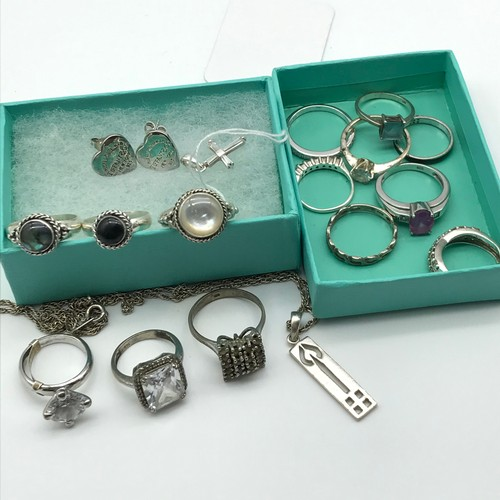 6 - A Collection of 14 silver 925 and gem stone rings, Silver chain with pendant, silver cross pendant a...