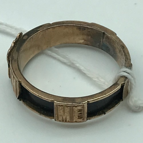 3 - A Victorian Mourning ring, engraved 'In Memory of' Ring size P and weighs 2.6grams...