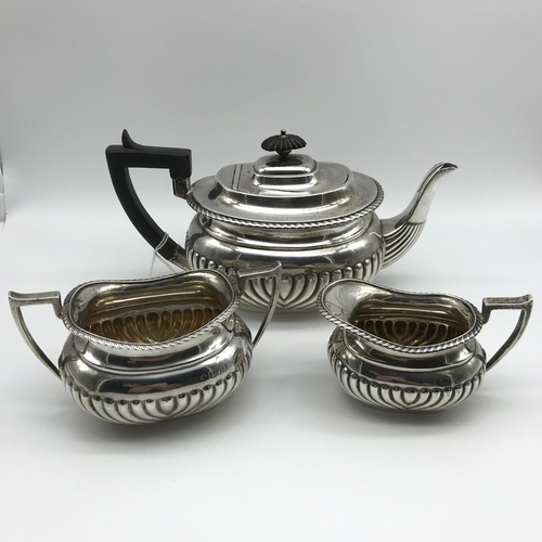 1J - A London silver three piece tea set made by Horace Woodward & Co Ltd, dated 1906. [weighs 683grams]...