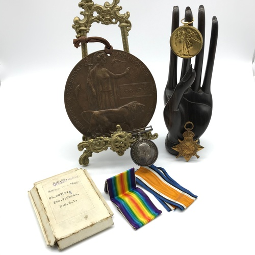 7J - A WW1 Star Medal, War and Victory medal, Together with a WW1 Death plaque all belonging to CH.507.S,...