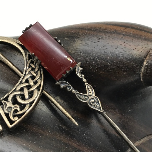 10J - Iona silver Celtic design plaid brooch and Sterling silver and red agate kilt pin....