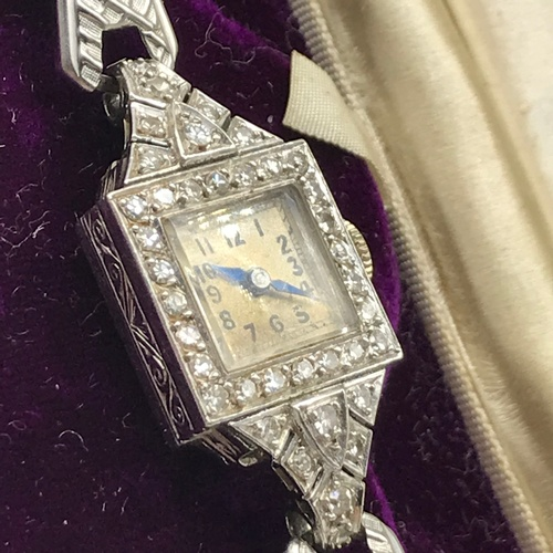 13J - A Ladies Vintage Platinum And Diamond Vertex Ladies Art Deco Cocktail Watch C1930. Platinum cased an...
