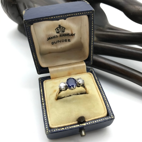 19J - Antique ladies 18ct gold and platinum diamond and sapphire ring, Single Oval sapphire [6.5x5mm] Off ...