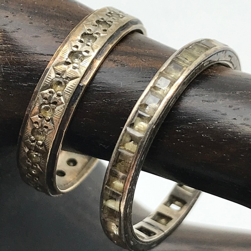 21J - Antique 9ct gold and silver band ring set with quartz stones together with antique band ring set wit...
