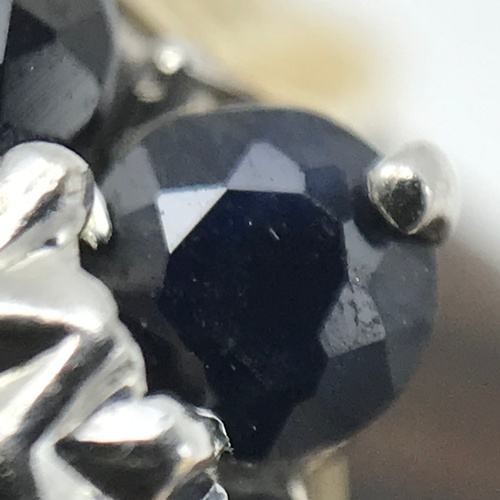 23J - A Ladies 9ct gold diamond and sapphire cluster ring. Ring size K & Weighs 1.93grams. Together with a...