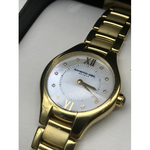 40J - Raymond Weil Women's 'Noemia' Swiss Quartz Stainless Steel Dress Watch, Colour: Gold-Toned, Comes wi...