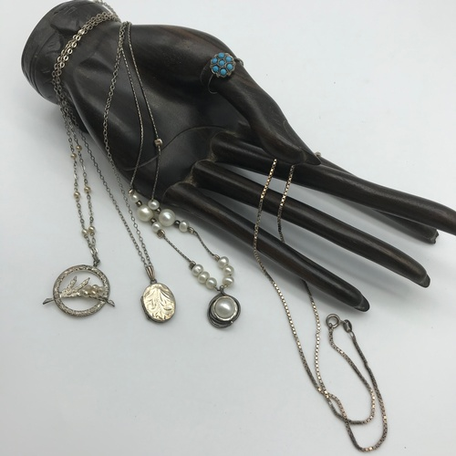 44J - A Lot of silver jewellery to include Antique silver and Turquoise stone ring, Ornate silver and pear...