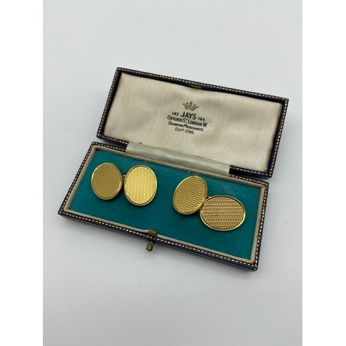 1 - A Pair of Antique Birmingham 18ct gold cuff links in a fitted box. Box is made by Jays Oxford st Lon...