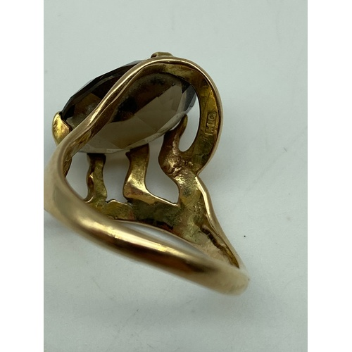 2 - Antique unusual gold ring set with a large Quartz stone. Marked M.G. Ring size N. [Weighs 4.96grams]...