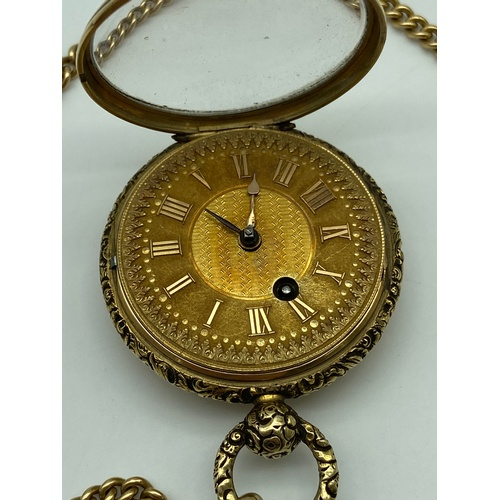 4 - Antique London/Chester marked 18ct gold Fusee pocket watch with an 18ct gold Albert chain and two go...