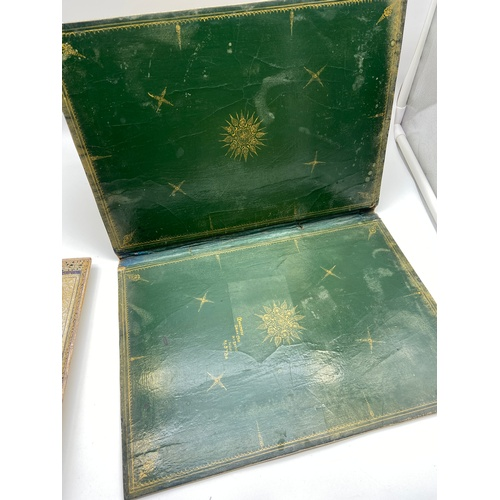11 - Antique Indian Hand made desk set, Consists of Letter box, document folder and pen tray. All signed ...