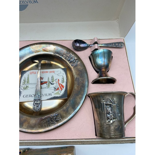 12 - A Vintage Gero Zilvium silver plated children's breakfast set depicting little red riding hood [Come...