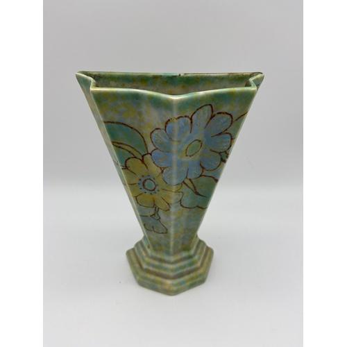 15 - Art Deco floral design Crown Devon wall pocket vase. Measures 20cm in height...