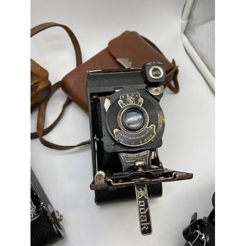 16 - A Lot of vintage cameras which includes Contessa Nettel bellow camera, Kodak No.1 Pocket Kodak bello...