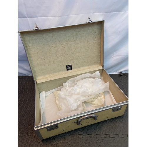 19 - A Vintage Harrods Ltd London travel case. Detailed to the front Initials M.C.OF.C....