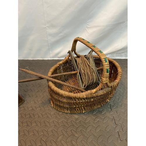 24 - Old antique garden liner and vintage weaved basket....