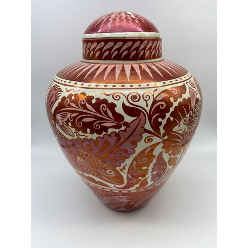 100 - William De Morgan [1839-1917] 19th century Ruby lustre fish design vase with lid. Impressed marking ...