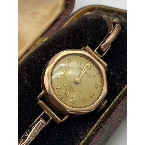 5J - Antique ladies 9ct gold Oriosa watch and 9ct gold elasticated strap bracelet. Watch is in a working ...